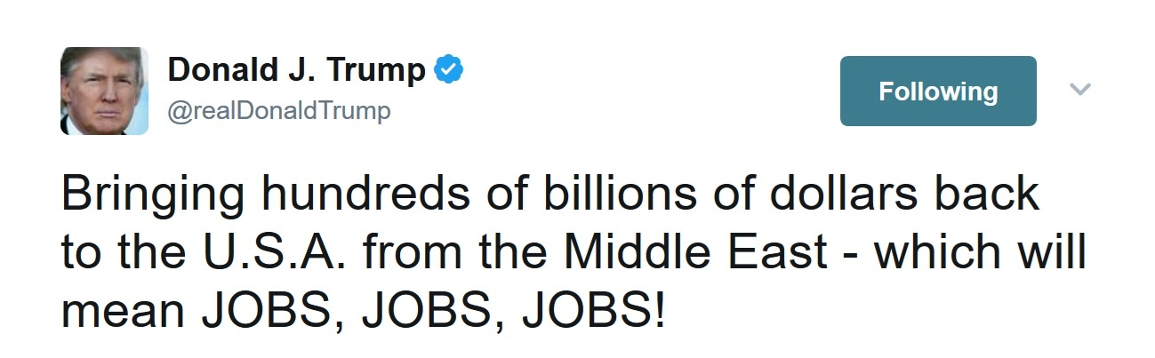 تصویر از عکس | ترامپ:صدها میلیارد دلار سرمایه را از خاورمیانه به آمریکا بازگرداندیم