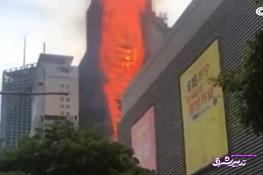 تصویر از فیلم | آتشسوزی مهیب به ارتفاع یک برج بلند در چین
