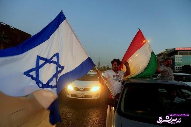 تصویر از برافراشته شدن پرچم رژیمصهیونیستی در خیابانهای اربیل/عکس