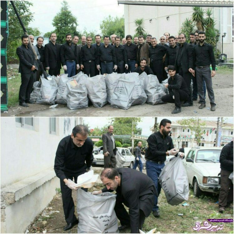 تصویر از با حضور فرماندار لاهیجان و مسئولین؛ برگزاری عزاداری روز یازدهم محرم در رودبنه و پاکسازی خیابانهای رودبنه از زباله + تصاویر