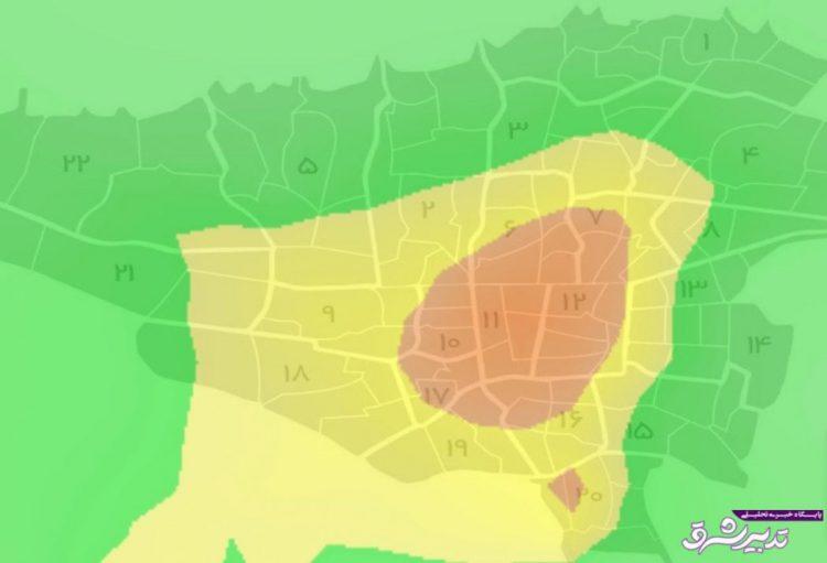 تصویر از سیزدهمین روز هوای آلوده تهران/ نقشه مناطق آلوده پایتخت در ظهر امروز