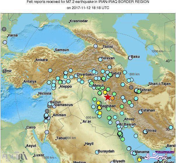 تصویر از گستره مناطقی که زمینلرزه در آنها احساس شدهاست / عکس