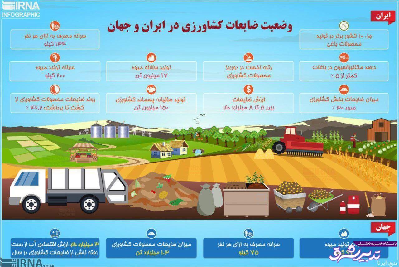 تصویر از اینفوگرافیک  رتبه تاسفبار ایران در دور ریز ضایعات کشاورزی؛ یک!