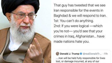 تصویر از رهبر معظم انقلاب درباره اظهارات ترامپ: باز آن جناب توییت کرده که ما این را از چشم ایران میبینیم و پاسخ خواهیم داد؛ غلط میکنید / اگر ایران بخواهد با کشوری مبارزه کند، صریح این کار را میکند