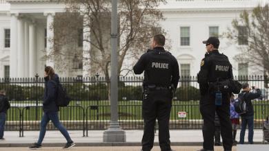 تصویر از بازداشت یک فرد مسلح به سلاح سرد مقابل کاخ سفید