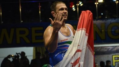 تصویر از کمیل قاسمی مشترکا با کشتی گیر روسیه قهرمان المپیک ۲۰۱۲ شد