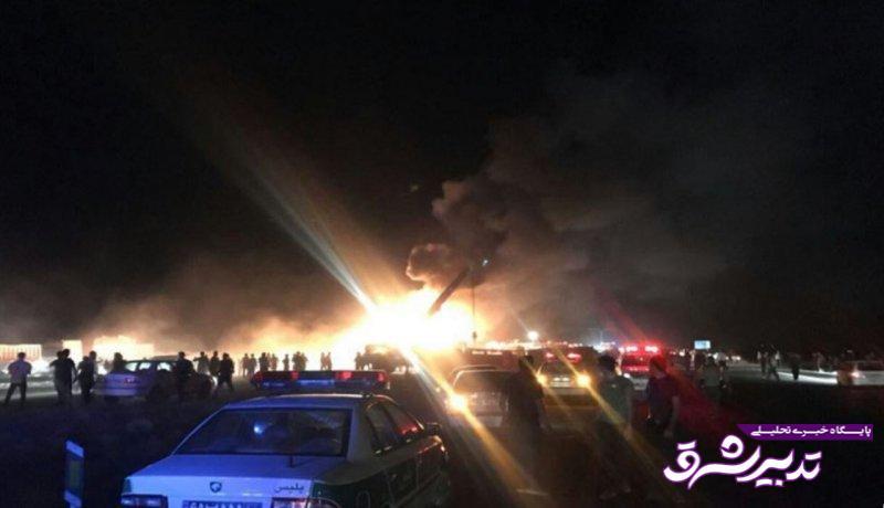 تصادف وحشتناک اتوبوس تهران - کرمان با تانکر حمل سوخت